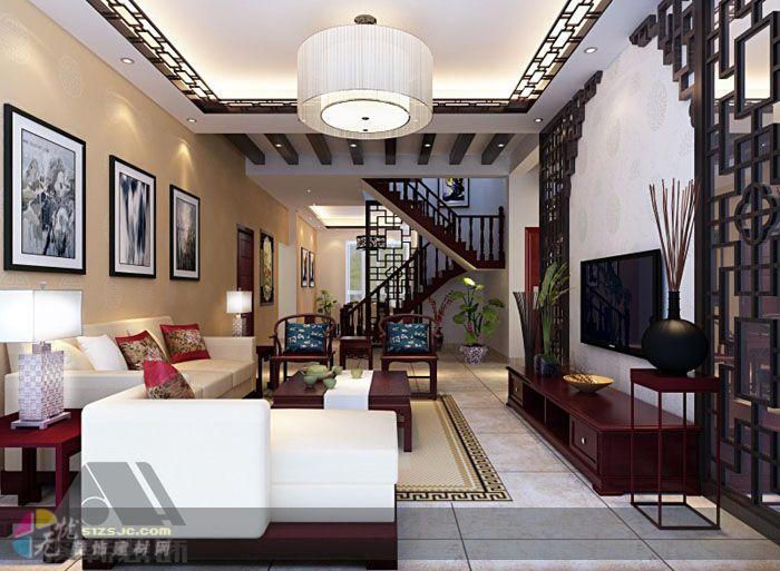 室内装修装饰设计效果图欣赏标签:中式,棕色,客厅,复式,10-20